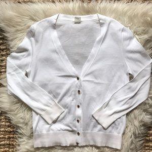 J. Crew white 100% cotton cardigan sweater amber